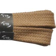 Ploché hnědé bavlněné tkaničky 60 cm