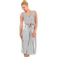 8875803f6ec16 TopMode pruhované dámské šaty zavinovací efekt bílá