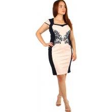b7e940f36eea TopMode romantické šaty s ornamentem pro plnoštíhlé světle růžová
