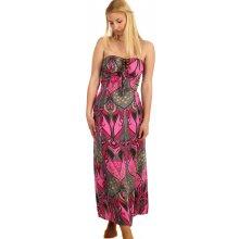 Dlouhé vzorované šaty se zavazováním za krk 216383 růžová 16b051d3ec