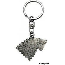CurePink Přívěsek na klíče Game of Thrones Hra o trůny Stark 3 5 x 4 5 cm mosaz 325266