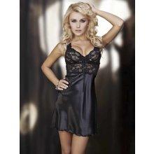 DKaren Oliwia dámská košilka saténová s krajkou black černá 5967324333