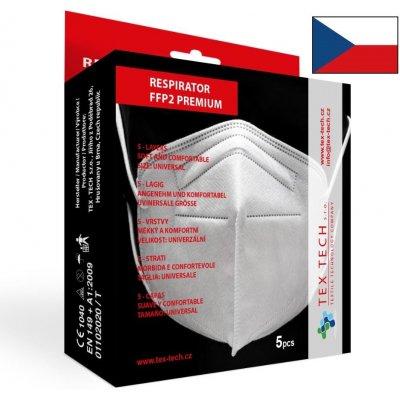 Tex-Tech český premium respirátor FFP2 černý 5 ks