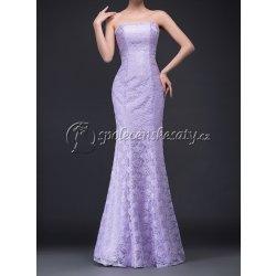 eadefc138394 Dlouhé luxusní krajkové společenské svatební šaty typu mořská panna L176  světle fialové