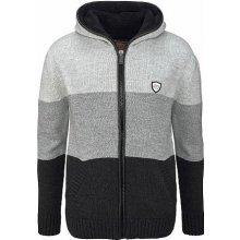 Cipo & Baxx Pletený svetr s kapucí, černá-šedá-proužkovaná