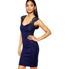 LM moda pouzdrové šaty s krajkou 2493 modrá 8b78a0b0fa6