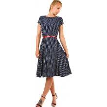 845d4286d8a8 Dámské společenské šaty s puntíky 336959 tmavě modrá