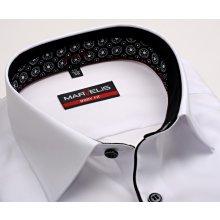 Marvelis Body Fit – bílá košile s černo-bílým vnitřním límcem a černou légou 5e8ed36a75