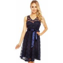 d51c667c2bb Dámské krajkové šaty na ramínka s páskem středně dlouhé tmavě modrá