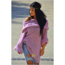 1aa79450bd6 Fashionweek Teplý tlustý pletený svetr Boho lux moher Carmen Růžovy