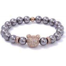 Lavaliere pánský náramek 8595652110488 Medvídek a osazené zirkony černé mořské perly z mušlí růžové zlato