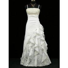 Bílé dlouhé svatební společenské šaty s volány a zlatým topem