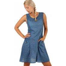 123c42e8f5d YooY bavlněné letní šaty s krajkou a výraznými kapsami denim