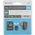 Platinet 4-in-1 microSD 8GB + čtečka + OTG + adaptér PMMSD8CR4