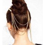 Zlaté řetízky do vlasů s třásněmi