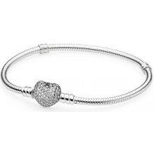 Pandora stříbrný náramek s třpytícím srdcem 590727CZ
