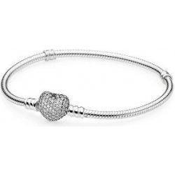 Náramek Pandora stříbrný náramek s třpytícím srdcem 590727CZ f23f3605211