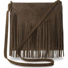 dámská kožená kabelka listonoška s třásněmi styl boho hnědá ff3461e696d