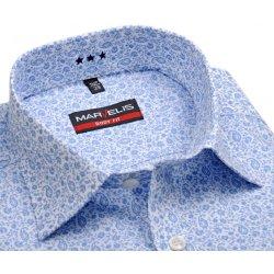 Marvelis Body Fit – bílá košile se světle modrým vzorem - prodloužený rukáv b9726d0d9a