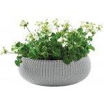 RojaPlast Plastový květináč COZIES KNIT L v šedé barvě
