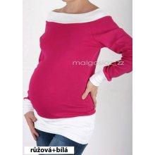 těhotenské tričko tunika dlouhý rukáv růžová + bílá