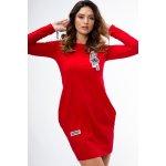 Bavlněné krátké šaty s dlouhým rukávem a stylovým potiskem červená eeb6f881b5