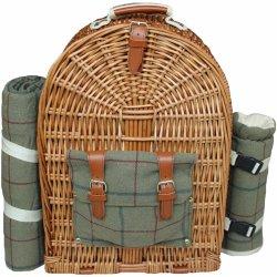 Piknikový koš Willow Direct Britský proutěný piknikový batoh GREEN TWEED  pro 4 osoby s dekou 0e9114ee24