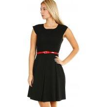 5d665fe68f68 Společenské dámské koktejlové šaty s páskem 393821 černá