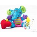 SENSILLO Plyšová hračka s vibrací a chrastítkem Sloník - modrá