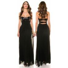 0c8d4af866d0 KouCla Společenské dlouhé šaty s flitry černé
