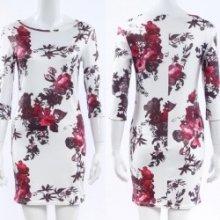 d2594fe4a01 Dámské sexy mini šaty tunika 3 4 rukáv 3D Flower květy