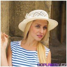 005fc6150ba Karpet Dámský papírový klobouk střední krempa zdobený stuhou bílá 206900