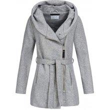 Hailys dámský kabátek Milea s páskem a kapucí šedá e72db5678d