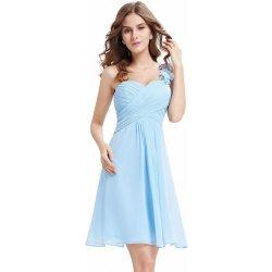 ab762ab245eb Krátké šaty koktejlky na rameno světle modrá