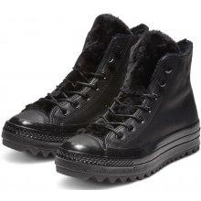 Converse černé kožené kotníkové tenisky Chuck Taylor All Star Lift Ripple Hi  Black ab2d6fc614
