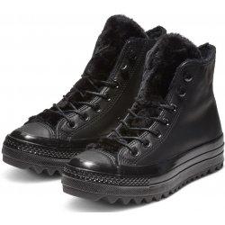 Converse černé kožené kotníkové tenisky Chuck Taylor All Star Lift Ripple  Hi Black 5f322a138ed