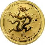 Lunární Zlatá mince Year of the Dragon Rok Draka 1/2 Oz 2012