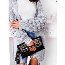 Fashionweek Dámský luxusní pletený svetr se super rukávy BUBBLE šedý c3dee96eae
