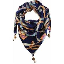 Jimena trojúhelníkový šátek s potiskem tmavě modrá 969c88d94a