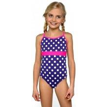 Lorin plavky dívčí jednodílné Jolana bílé puntíčky