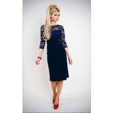 Modré tmavě krátké Společenské šaty s krajkovým 3/4 rukávkem pro svatební matky hosty