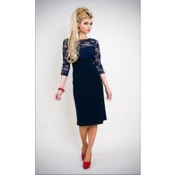 bf6dca735c24 Modré tmavě krátké Společenské šaty s krajkovým 3 4 rukávkem pro svatební  matky hosty
