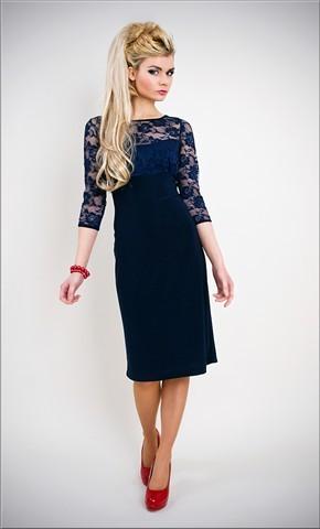 c21ed11e26a Modré tmavě krátké společenské šaty s 3 4 krajkovým rukávem pro svatební  matky hosty alternativy - Heureka.cz