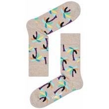 Happy Socks dámské Béžové ponožky s barevnými palmami bdac5a7588
