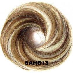 Příčesek - drdol na gumičce střapatý - 6AH613 (melír nugátově hnědé v beach  blond) 6cdf63cb51