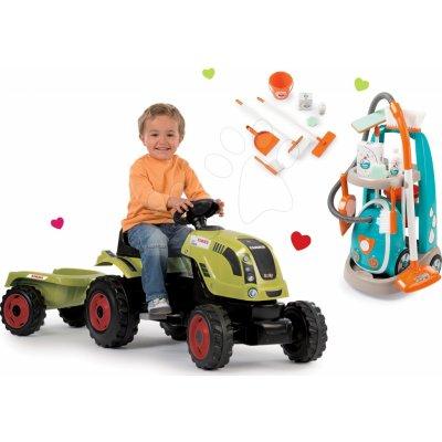 Smoby set traktor Claas Farmer XL s přívěsem a úklidový vozík s elektronickým vysavačem