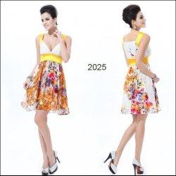 8788364ec58 žluté krátké společenské letní šaty na svatbu vzorované Bílé ...