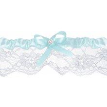Bílý svatební podvazek s modrou mašličkou