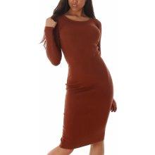 Jela London dámské hladké úpletové šaty pod kolena kamel 987777bcb7