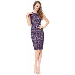 31adced50ea Krátké šaty koktejlky s krajkou hrubší ramínka fialová